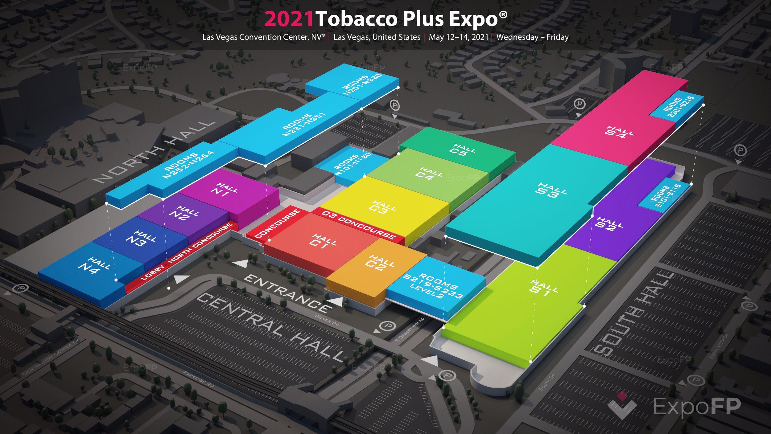 Tobacco plus expo 2021 las vegas | tobacco plus expo 2021 3d floorplan | tobacco plus expo 2021
