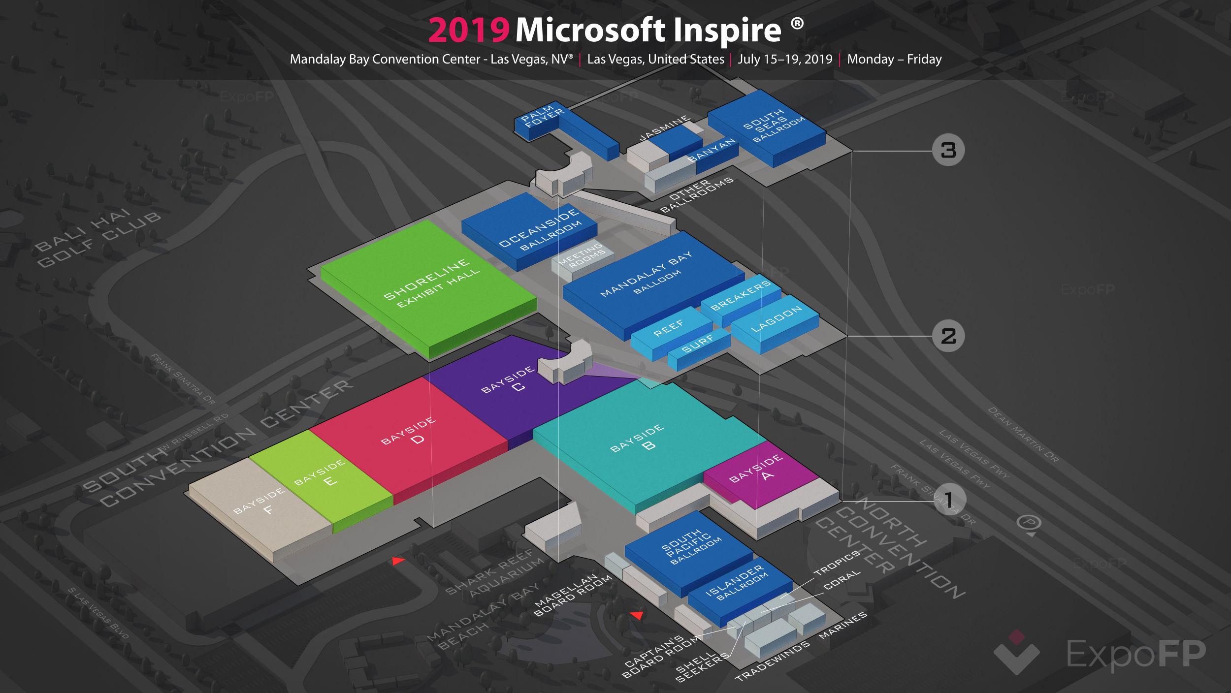 Microsoft Inspire 2019 3D floor plan